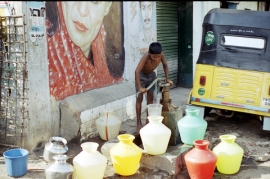 Chennai slum water bottles